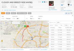 40 Mile Bike Ride on MapMyRide